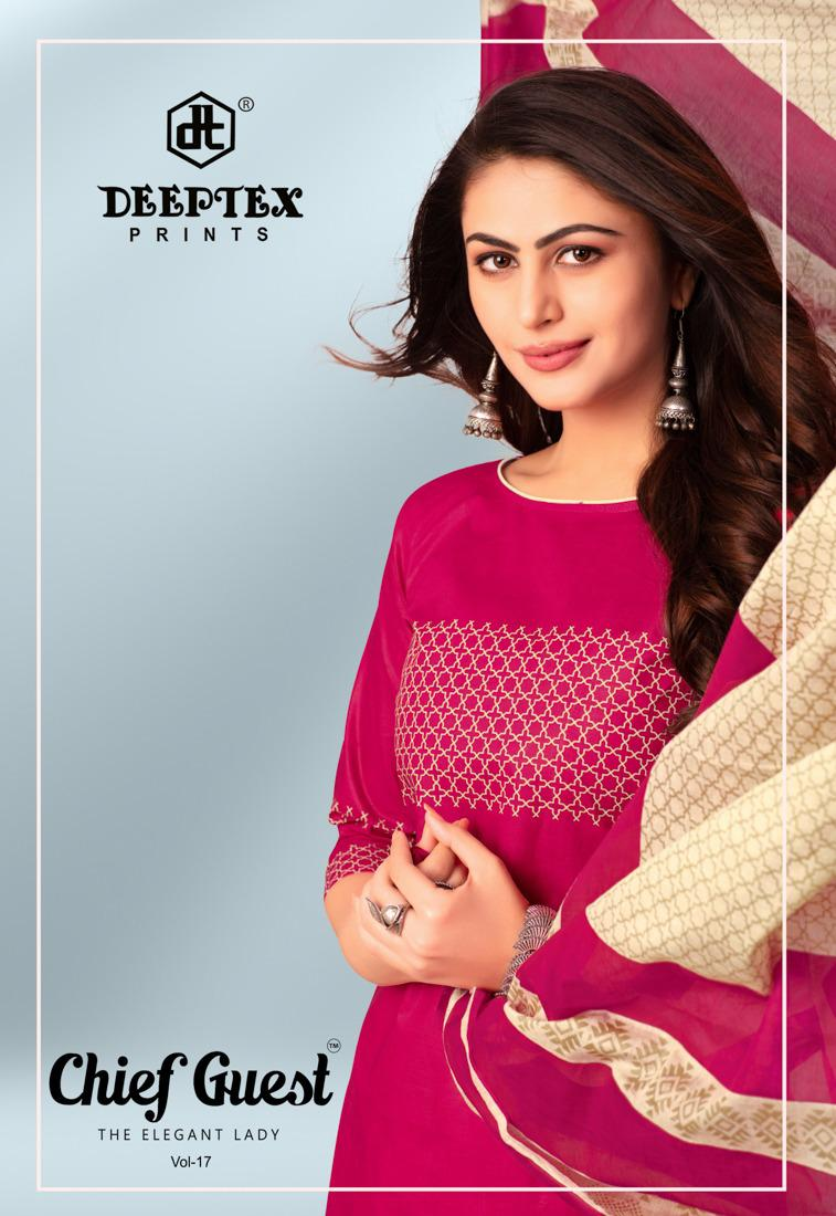 Deeptex Prints Chief Guest Vol 17 Printed Cotton Dress Material Collection At Wholesale Rate