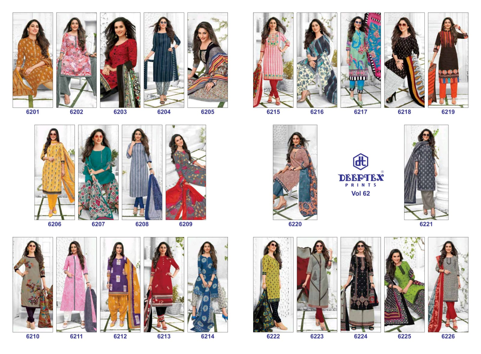 Deeptex Prints Miss India Vol 62 Cotton Printed Causal Wear Dress Material At Wholesale Rate
