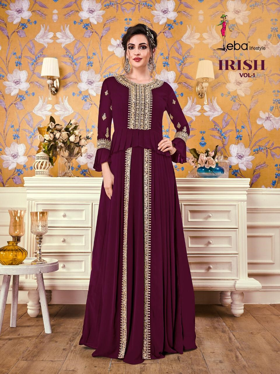 Eba Lifestyle Irish Vol 1 Designer Party Wear Georgette With Embroidery Work Long Gown Style Readymade Kurtis At Wholesale Rate