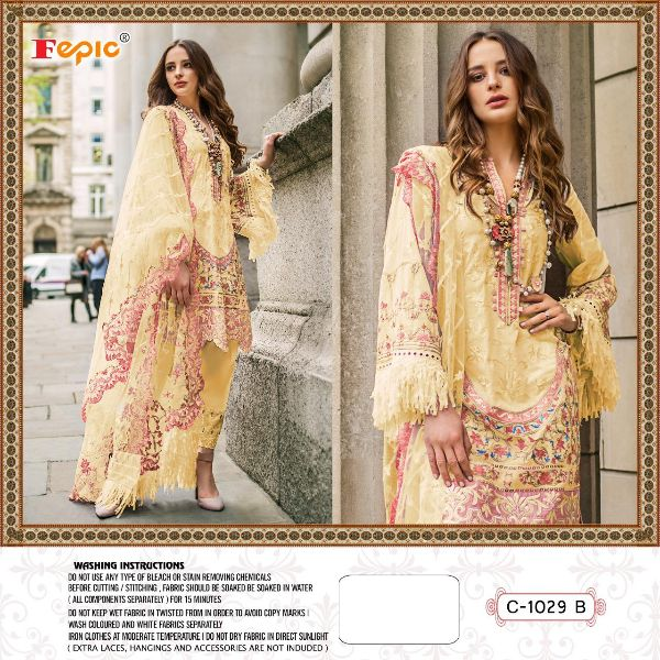Fepic 1029 Colors Net With Heavy Embroidery Work Pakistani Dress Material At Wholesale Rate