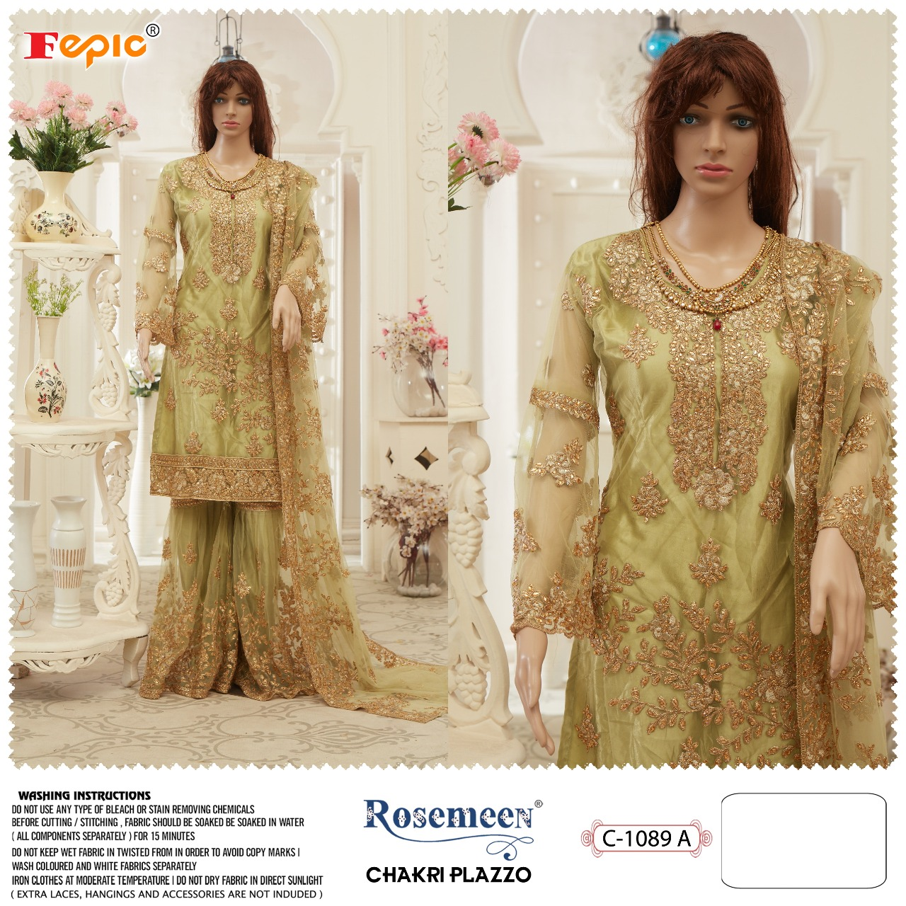 Fepic Rosemeen Chakri Plazzo Butterfly Net With Heavy Embroidery Work Pakistani Dress Material At Wholesale Rate