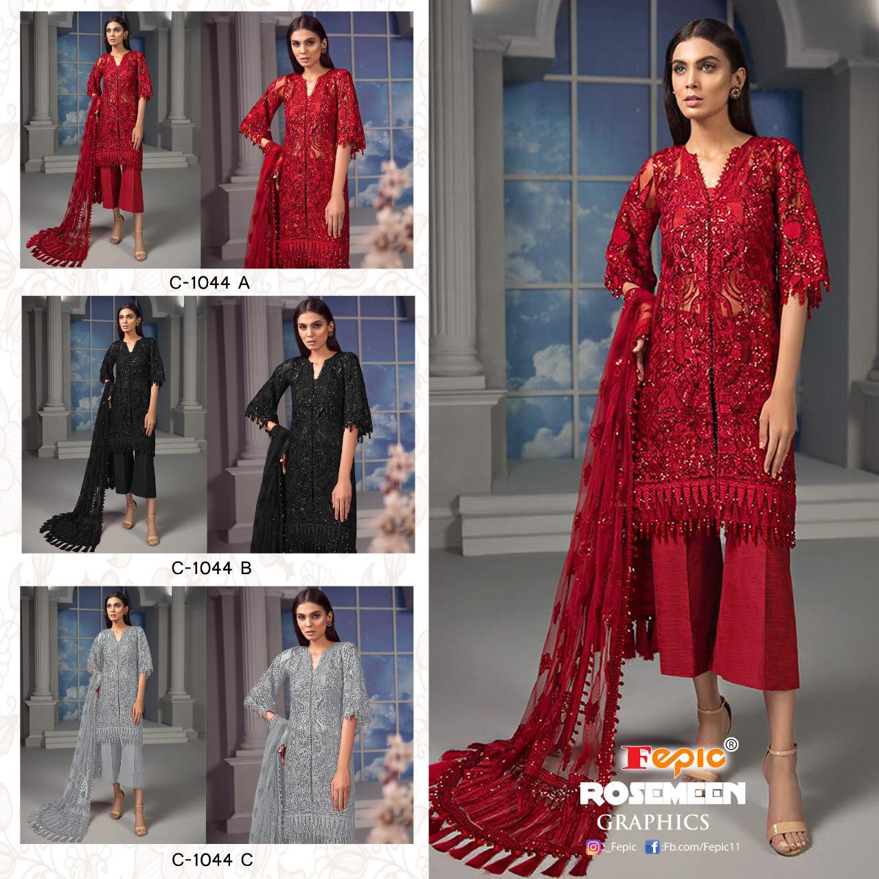 Fepic Rosemeen Graphics Net With Embroidery Work Pakistani Dress Material At Wholesale Rate