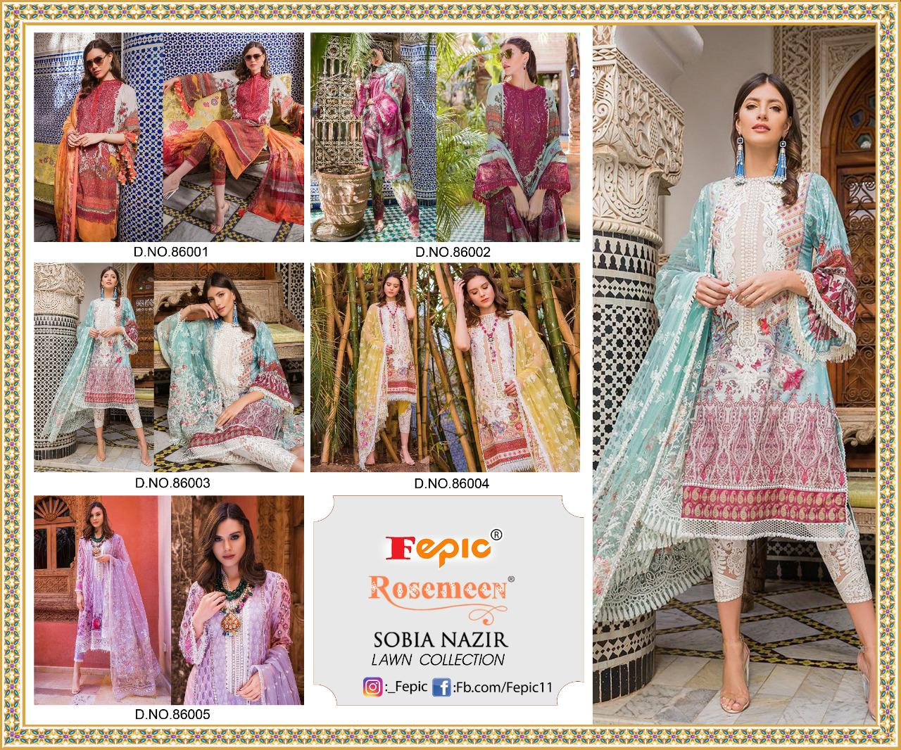 Fepic Rosemeen Sobia Nazir Lawn Collection Digital Printed Pure Cambric Cotton Pakistani Dress Material At Wholesale Rate