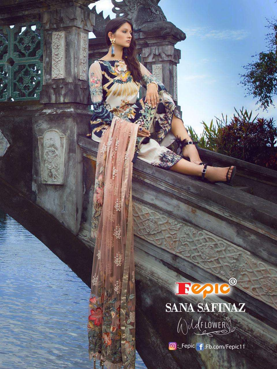 Fepic Sana Safinaz Wild Flower Pure Cambric Cotton Digital Print With Embroidery Work Patch Pakistani Suits Collection