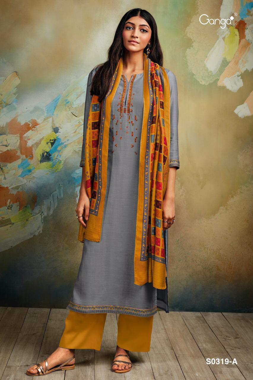 Ganga Minka Silk Cotton Satin Printed With Embroidery Work Designer Salwar Suits Collection At Wholesale Rate