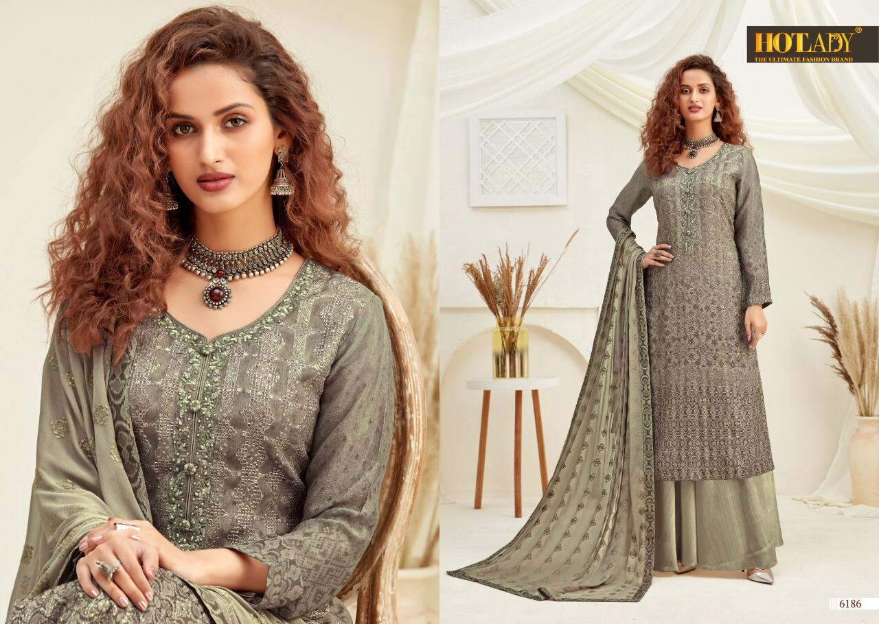 Hotlady Samreen 6181 To 6188 Series Pure Viscose Chinon Digital Print With Multi Sequence Embroidery Work Salwar Kameez At Wholesale Rate