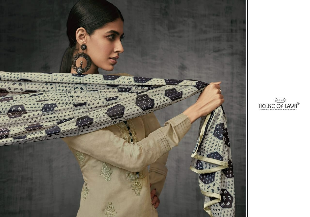 House Of Lawn Shades Of Beauty Pure Jam Satin With Fancy Embroidery Work Salwar Kameez Collection At Wholesale Rate