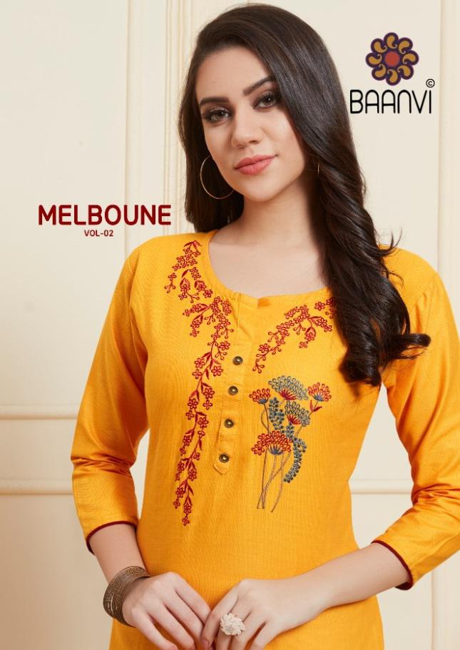 Baanvi Melbourne Vol 2 Embroidered Cotton Readymade Kurtis Collection At Wholesale Rate