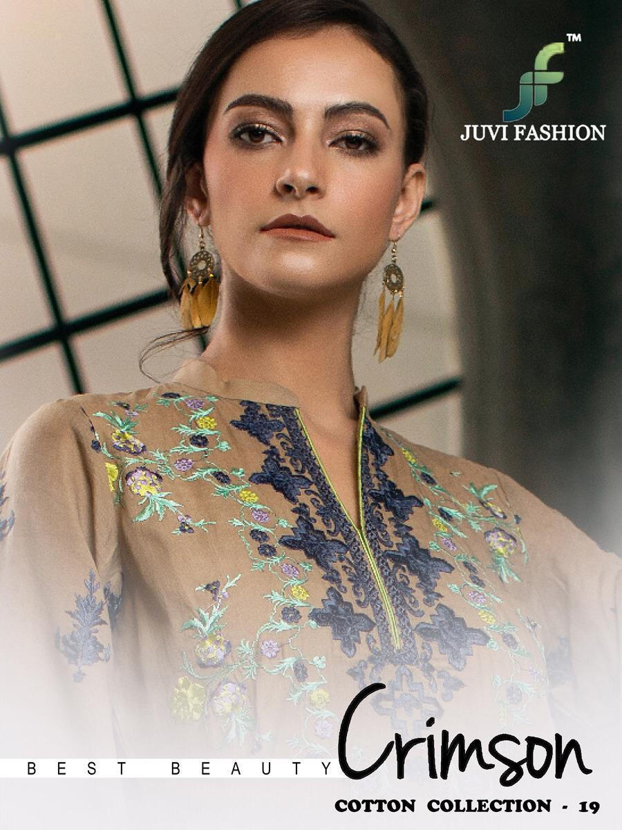 Juvi Fashion Crimson Cotton Collection Vol 19 Printed Cambric Cotton With Work Pakistani Suits Collection