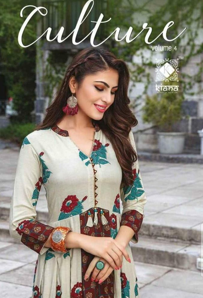 eab562e6db Kiana Fashion Culture Vol 4 Designer Printed Heavy Cotton Long Flair  Readymade Kurtis at Wholesale Rate | Ethnic Export