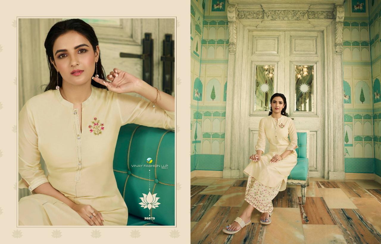 Vinay Fashion Tumbaa Mint Tusser Satin Silk Readymade Kurtis With Palazzo At Wholesale Rate