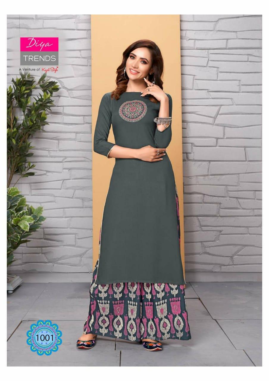 Diya Trends Sparkle Vol 1 Printed Rayon And Cotton Readymade Kurtis With Palazzo At Wholesale Rate