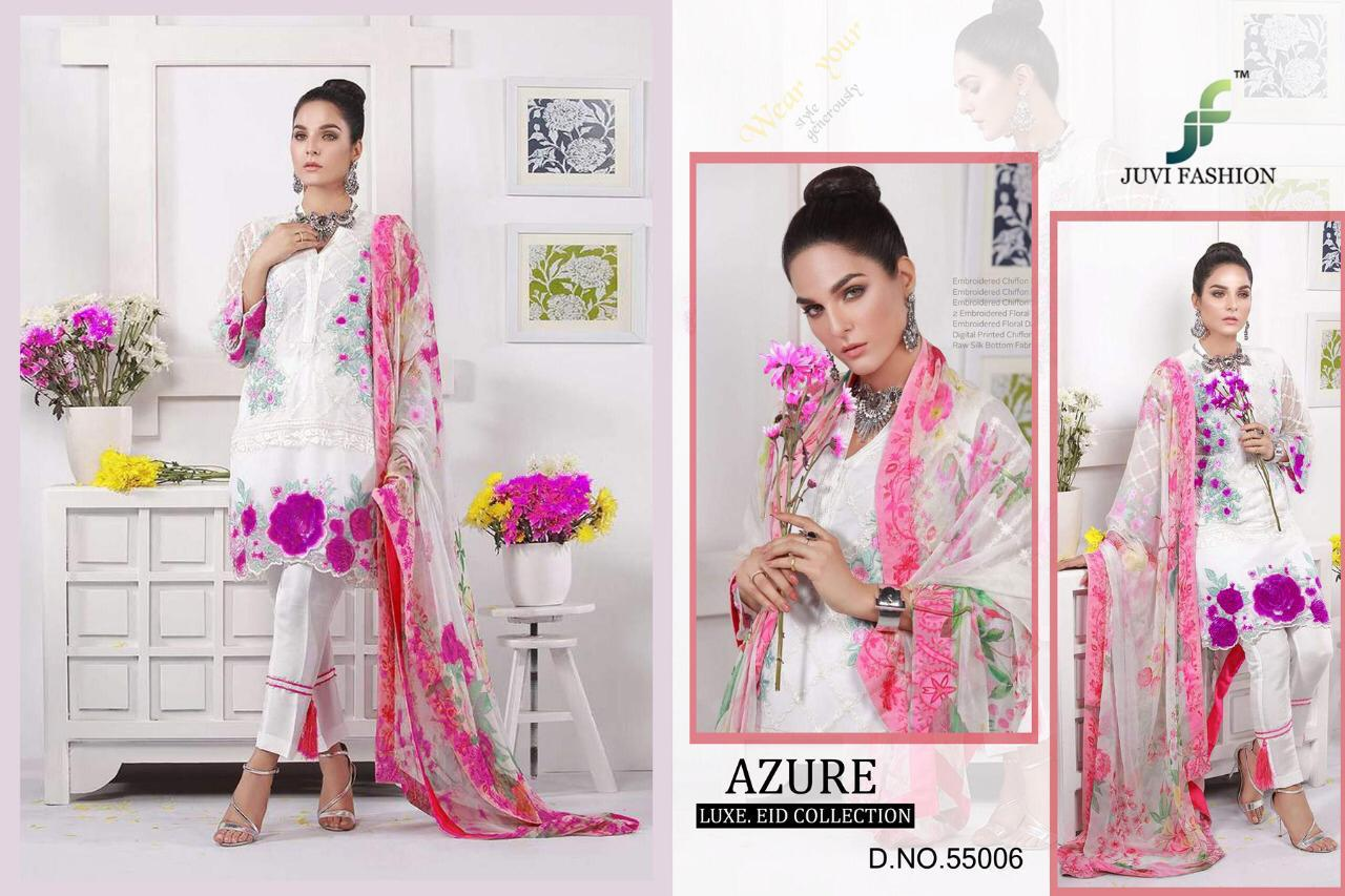Juvi Fashion Azure Luxe Eid Collection Designer Soft Net With Heavy Embroidery Work Pakistani Suits Collection