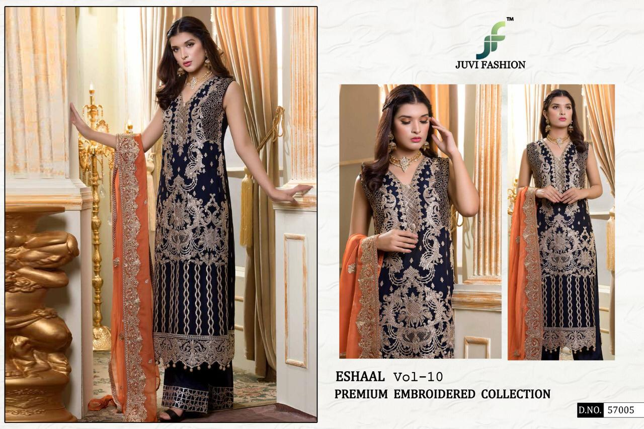 Juvi Fashion Eshaal Vol 10 Faux Georgette With Heavy Embroidery Work Pakistani Suits Dealer Surat