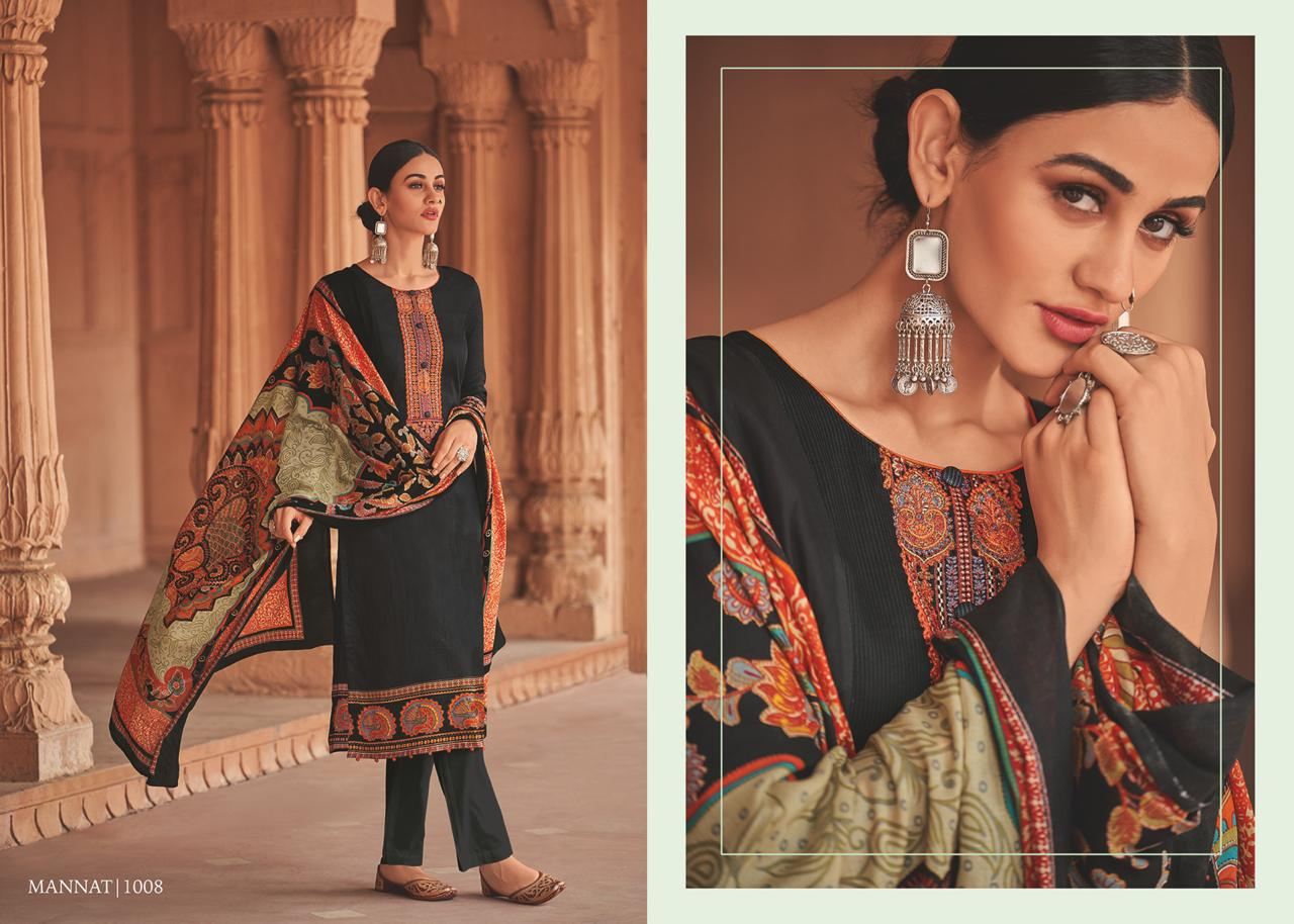 House Of Lawn Mannat Digital Printed Pure Jam Satin With Embroidery Work Dress Material At Wholesale Rate