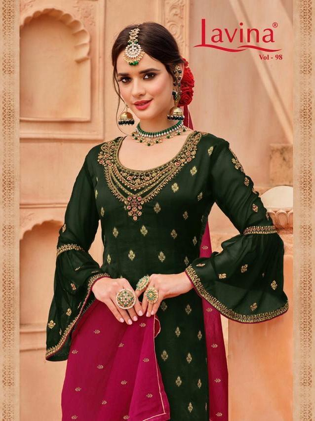 Lavina Vol 98 Pure Banglori Silk Jacquard With Embroidery Work Dress Material Collection At Wholesale Rate