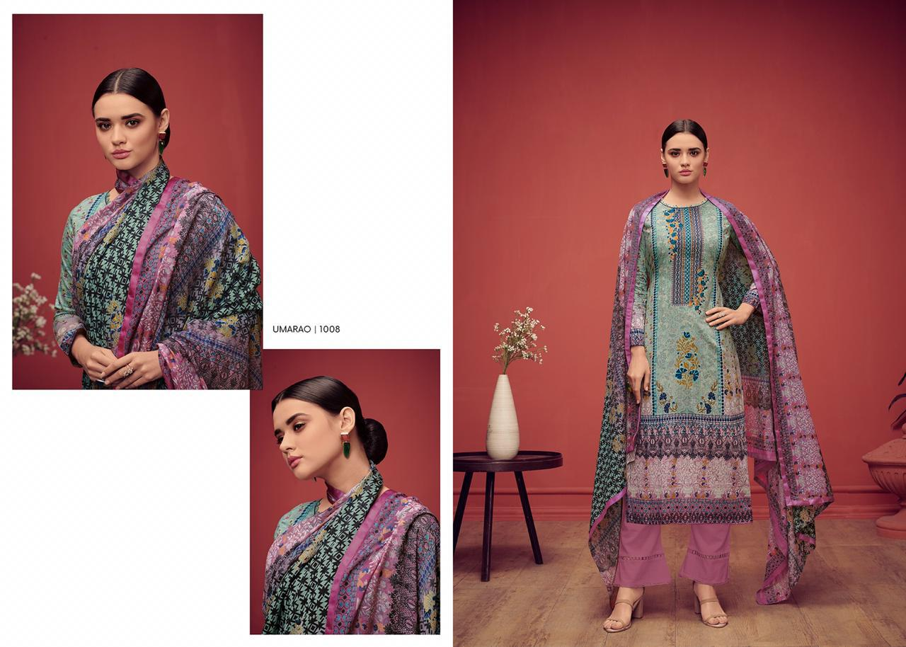House Of Lawn Umarao Digital Printed Karachi Lawn Cotton With Embroidery Work Dress Material At Wholesale Rate