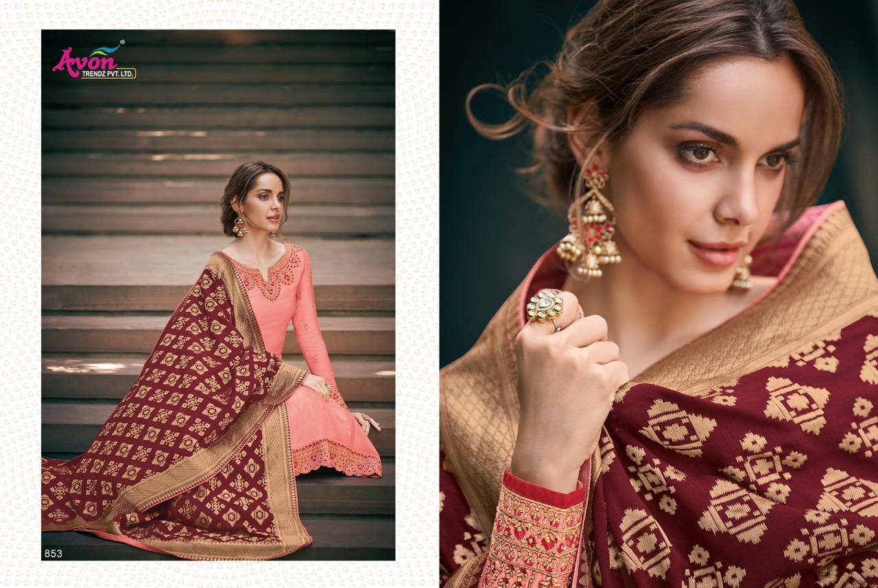 Avon Trendz Mulberry Silk Hand Woven Satin Georgette With Embroidery Work Dress Material Collection