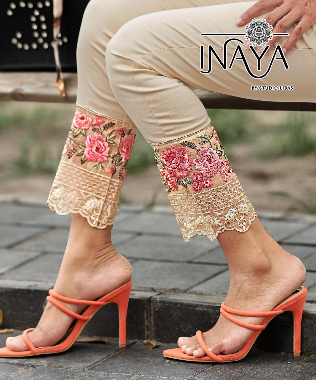 Inaya Studio Libas Cigarette Vol 15 Designer Readymade Pure Stretchable Cotton With Work Cigarette Pants At Wholesale Rate