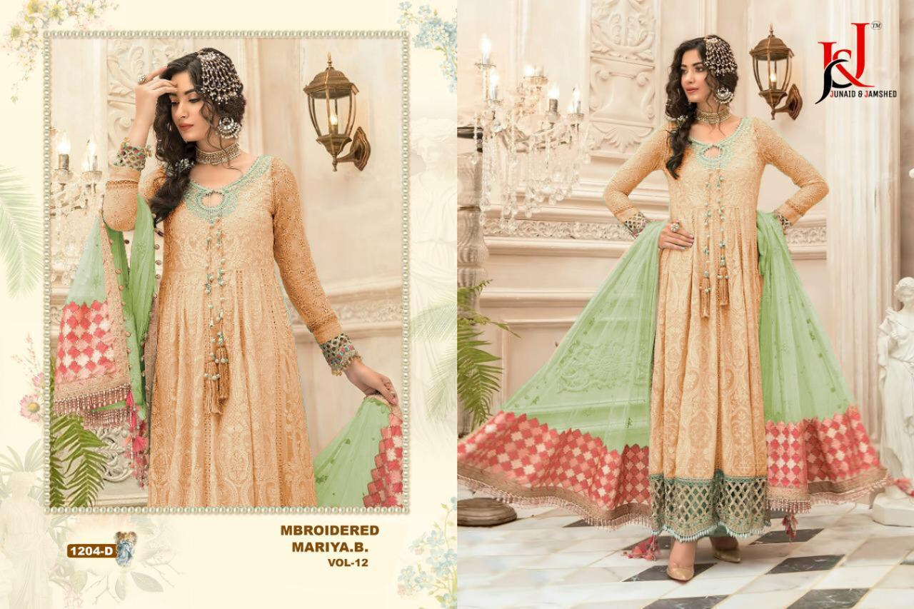 J&j Mbroidered Maria B Vol 12 1204 Colours Faux Georgette With Heavy Embroidery Work Pakistani Dress Material At Wholesale Rate