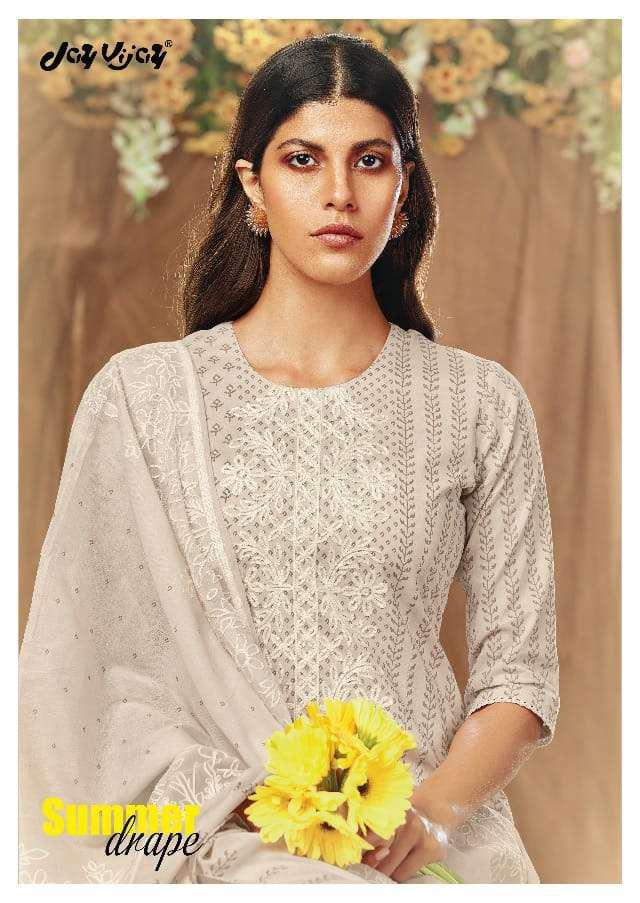 Jay Vijay Summer Drape Pure Cotton Block Print With Embroidery Work Salwar Suits Collection At Wholesale Rate
