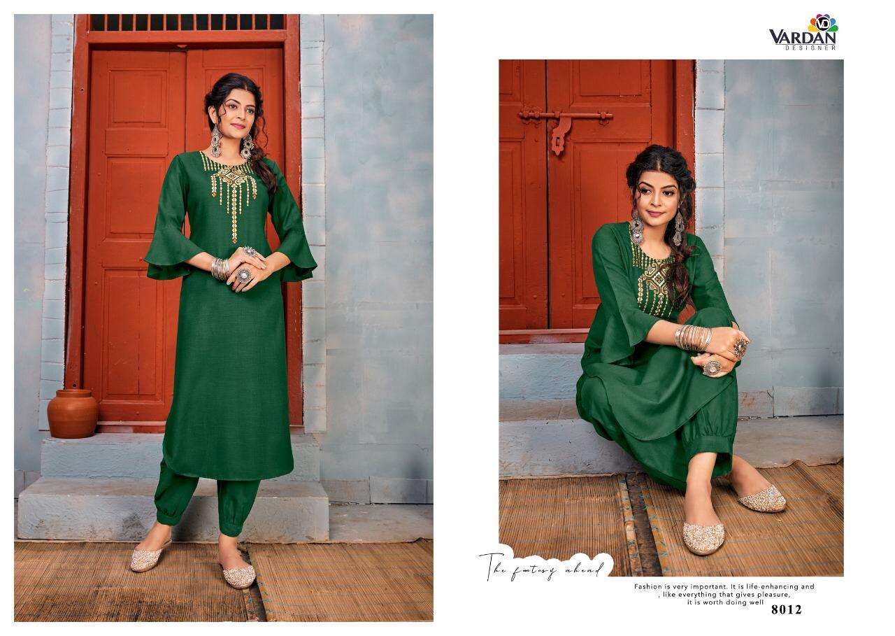 Vardhan Designer Jhumka Vol 1 Heavy Rayon With Embroidery Work Kurti With Pant Collection At Wholesale Rate