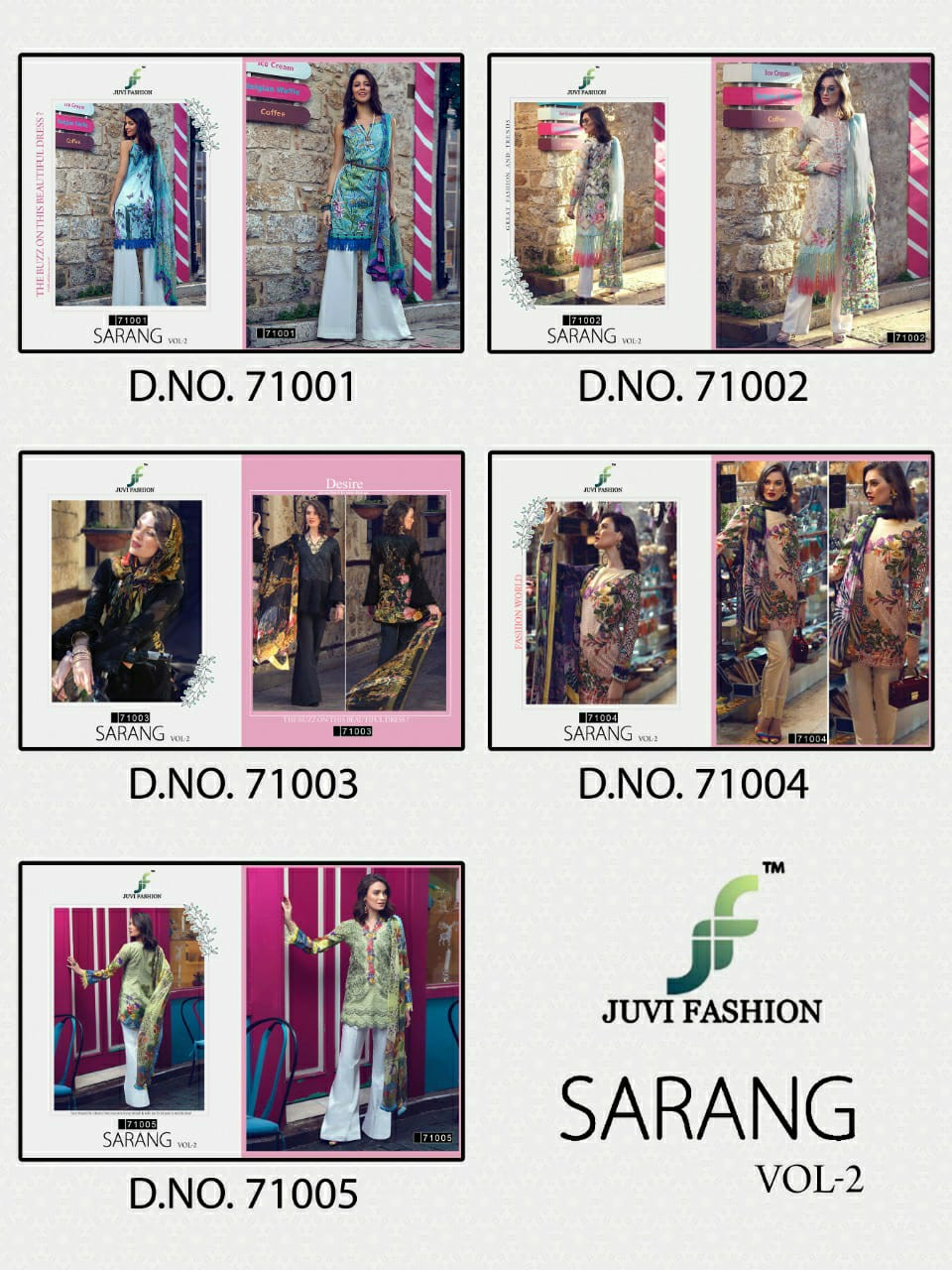 Juvi Fashion Sarang Vol 2 Pure Cotton Lawn Print With Embroidery Work Pakistani Suits Collection At Wholesale Rate