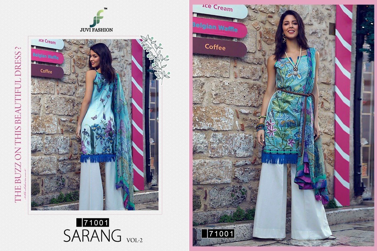 Juvi Fashion Sarang Vol 2 Printed Embroidered Pure Lawn Cotton Pakistani Dress Material Collection At Wholesale Rate