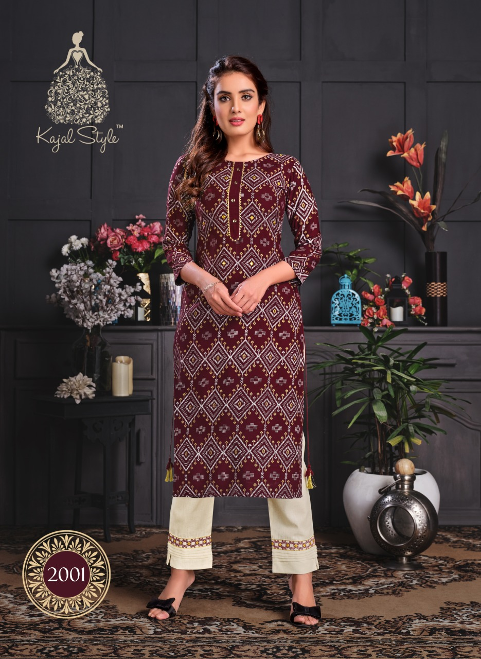Kajal Style Fashion Paradise Vol 2 Rayon Print With Embroidery Work Kurtis With Pant Collection At Wholesale Rate