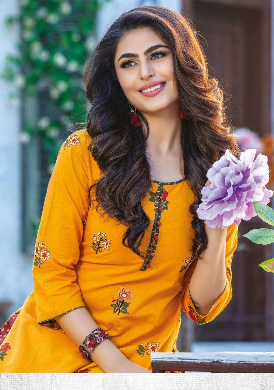 Kiana Fashion Fitoor Rayon Cotton Print With Hand Work Kurti With Pant Collection At Wholesale Rate