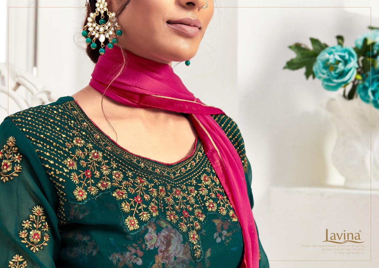 Lavina Nx Vol 9 Georgette With Embroidery Work And Digital Printed Inner Dress Material Collection At Wholesale Rate