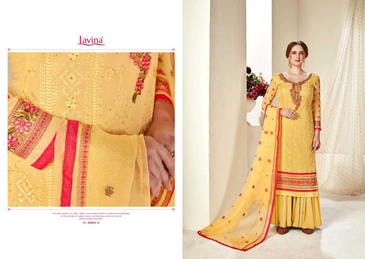 Lavina Vol 44 Georgette With Embroidery Work Dress Material Collection At Wholesale Rate
