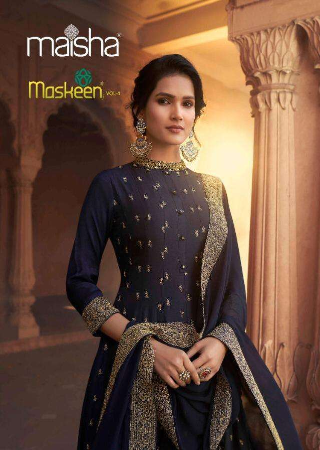 Maisha Maskeen Vol 4 Pure Russian Silk With Heavy Khatli Work Salwar Suit With Dupatta Collection At Wholesale Rate