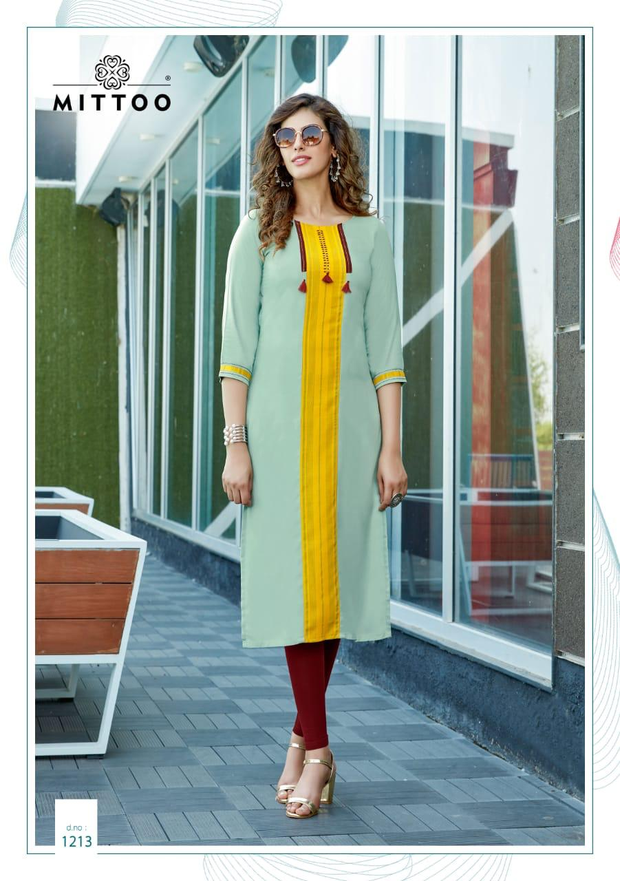 Mittoo Palak Vol 2 Rayon With Work Regular Wear Kurtis Collection At Wholesale Rate