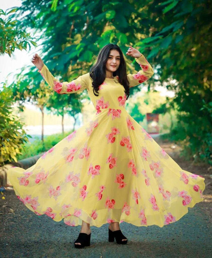 Exclusive Georgette With Digital Printed Fancy Gown Collection
