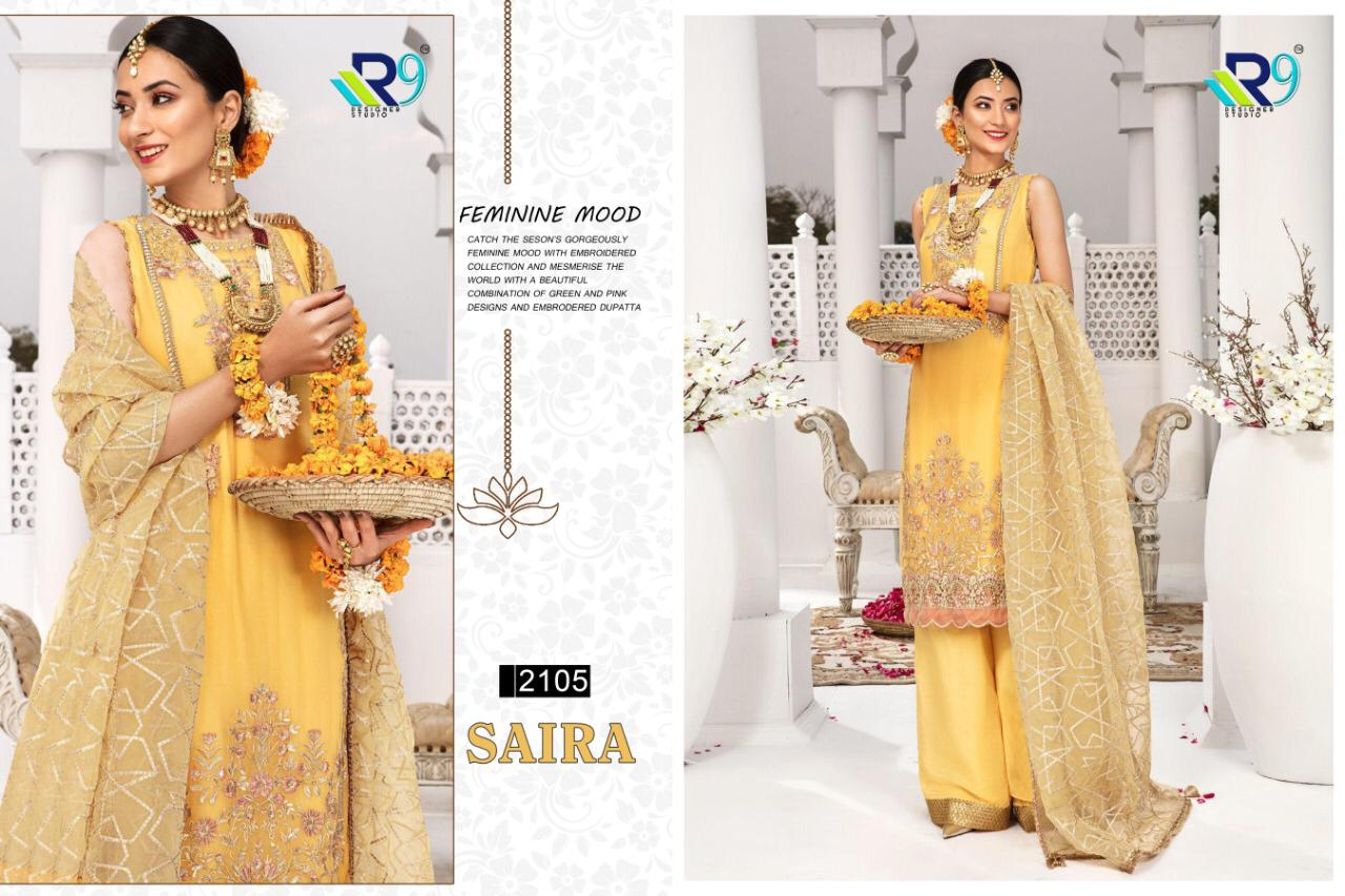 R9 Designer Saira Faux Georgette And Net With Heavy Embroidery Work Pakistani Dress Material At Wholesale Rate