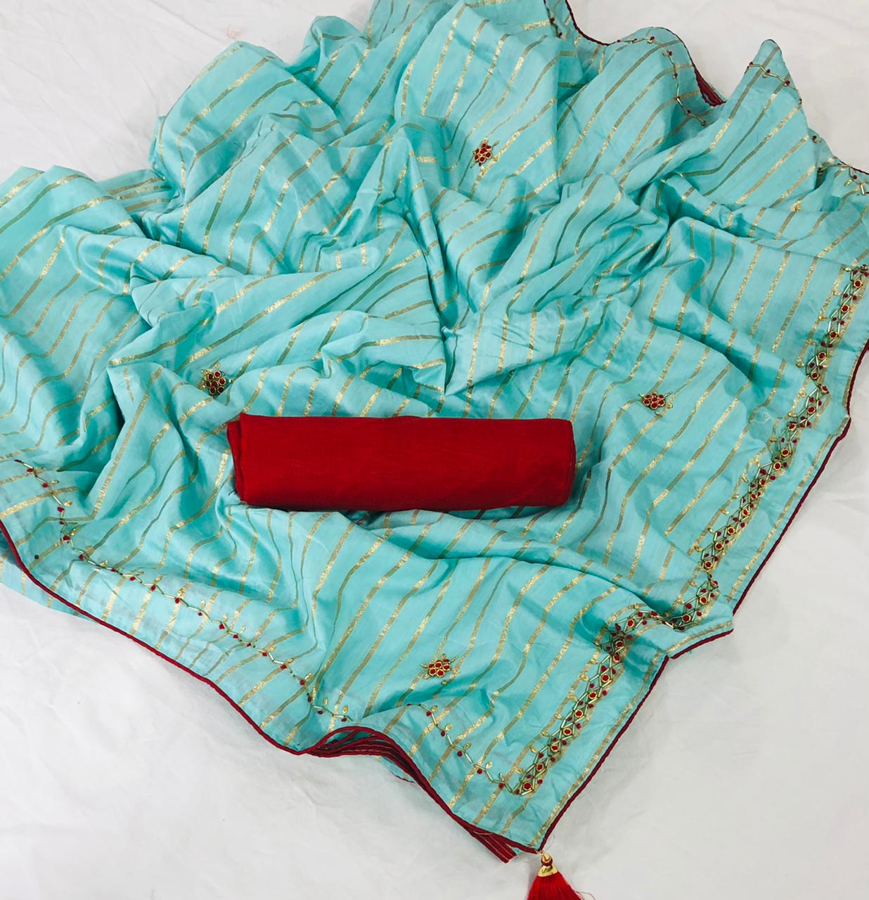 Radhika Silk Dola Silk With Hand Work Fancy Sarees Collection At Wholesale Rate