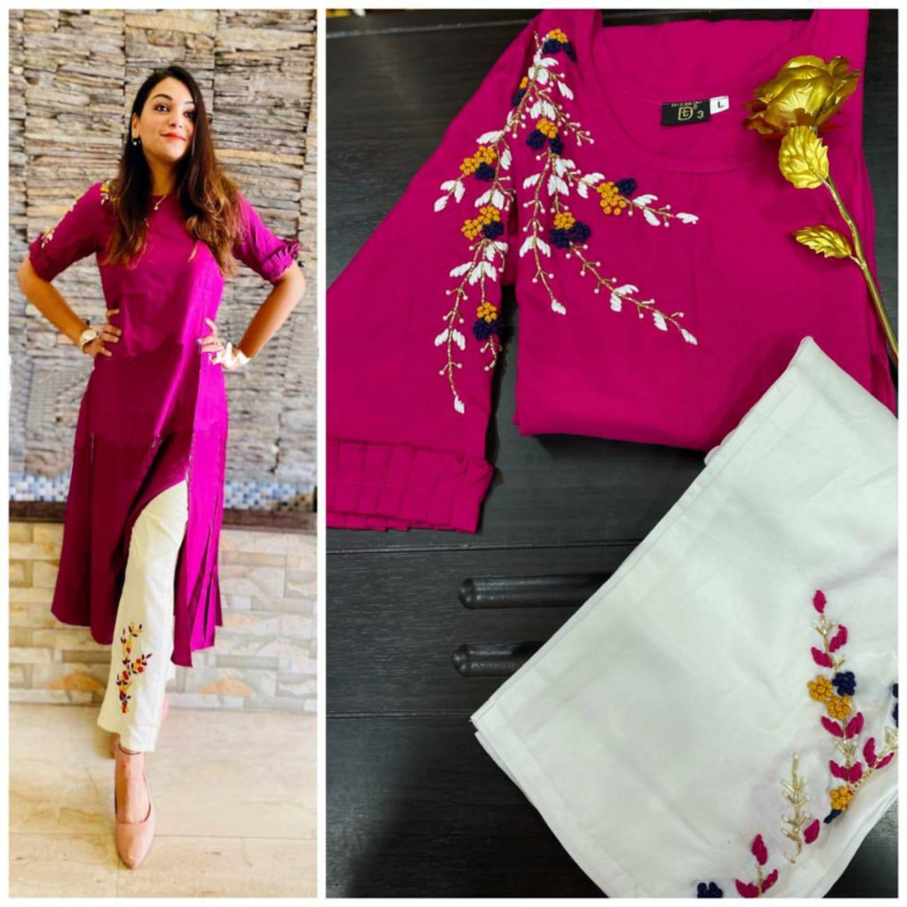 Flower Queen Rayon With Hand Work Readymade Kurti With Pant Collection At Wholesale Rate