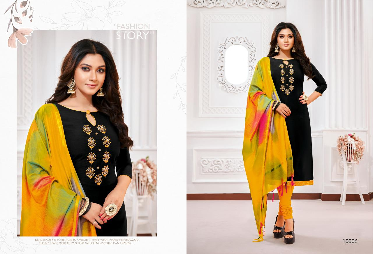 Shagun Lifestyle Rolex Vol 10 Long Slub South With Embroidery Work Dress Material With Mask At Wholesale Rate