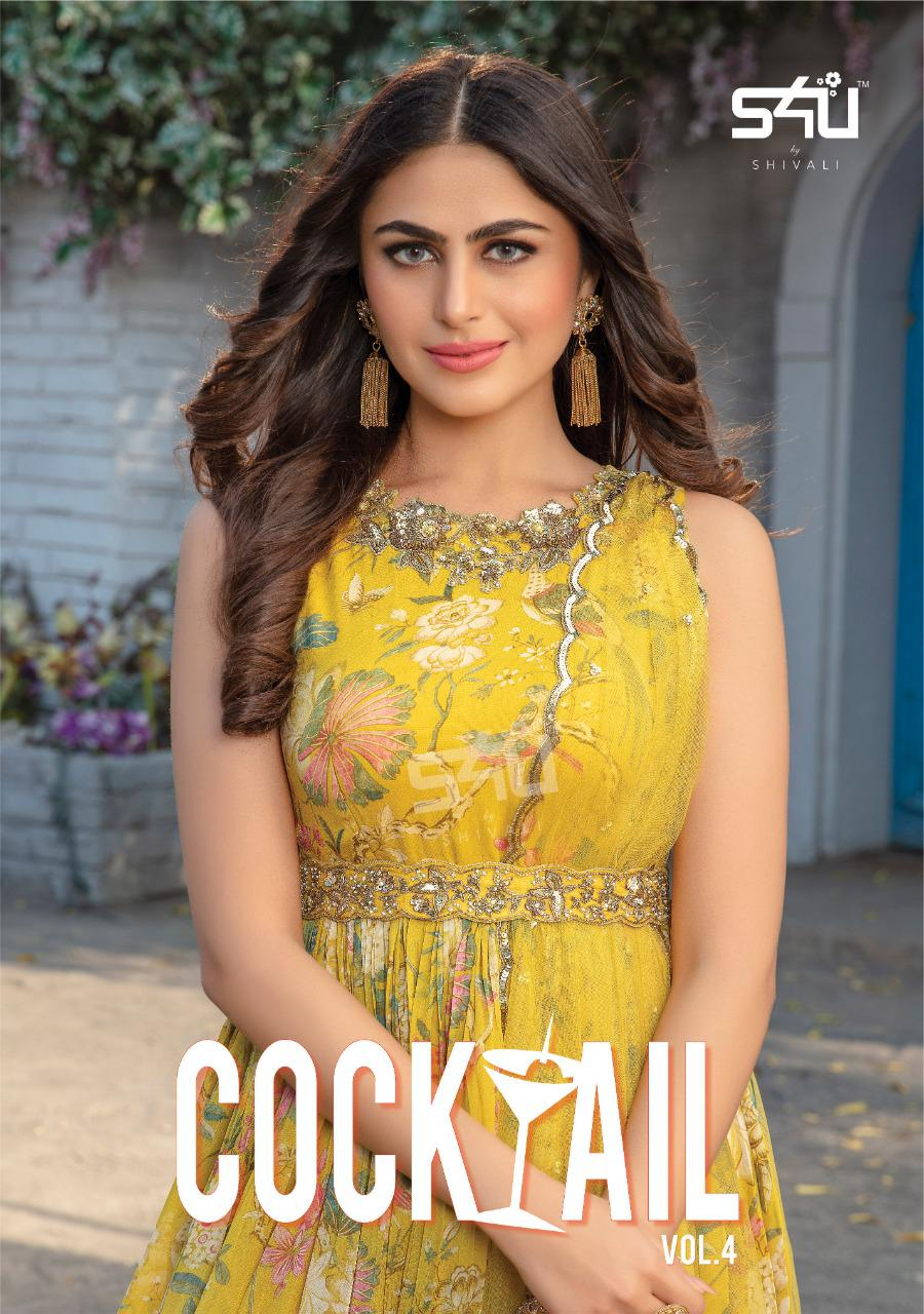 S4u Shivali Cocktail Vol 4 Designer Georgette With Embroidery Work Readymade Party Wear Collection At Wholesale Rate