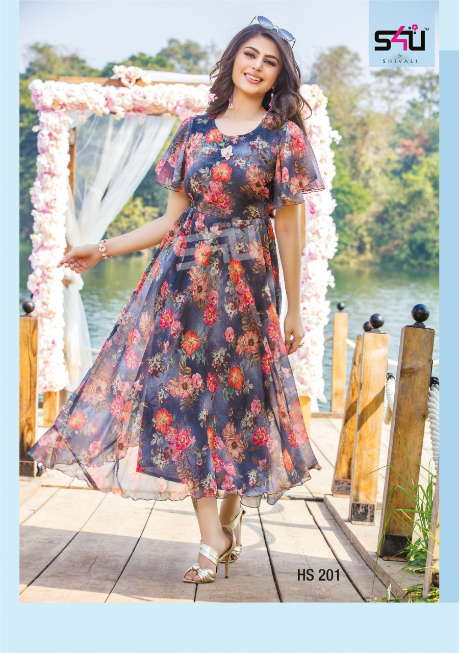 S4u Hello Spring Hit Design Fancy Floral Printed Long Frock Style Kurtis Collection At Wholesale Rate