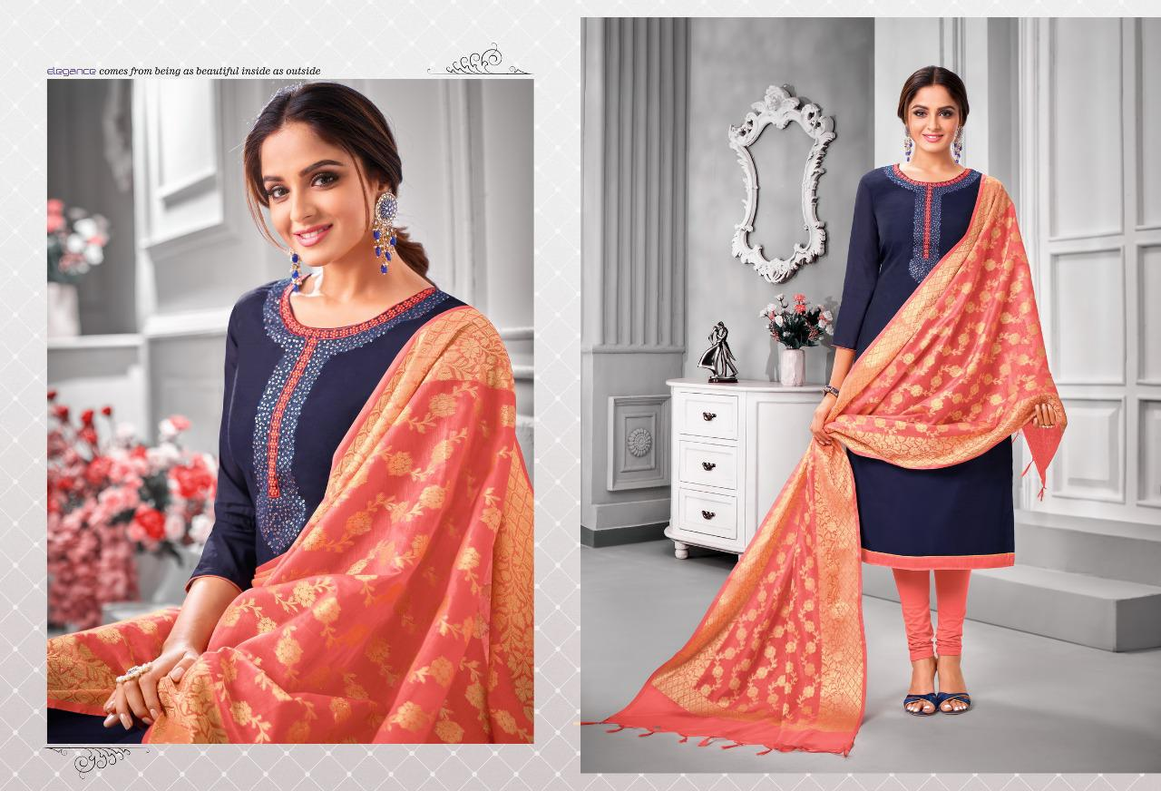 Shagun Lifestyle Vaccine Modal Silk With Embroidery Work Dress Material Collection At Wholesale Rate