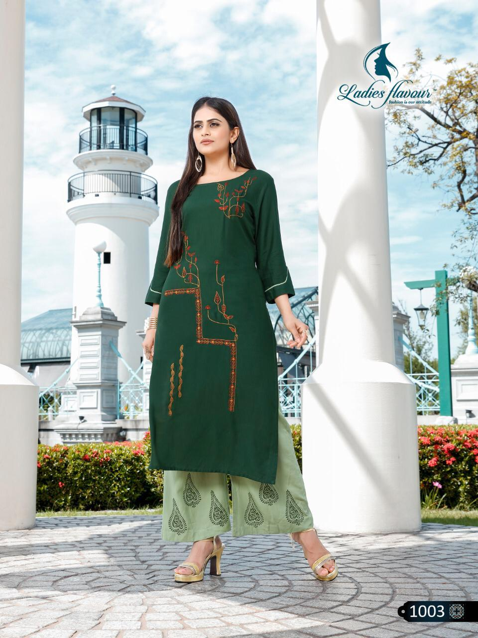 Ladies Flavour Signature Designer Rayon With Embroidery Work Readymade Kurtis With Palazzo At Wholesale Rate