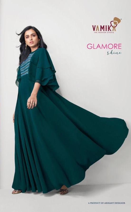 Arihant Nx Vaamika Glamore Shine Designer Georgette With Work Readymade Gown Kurtis Party Wear Collection At Wholesale Rate