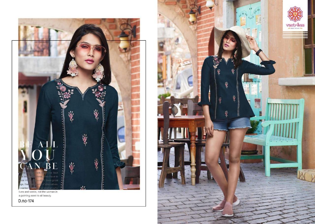 Vastrikaa Grace Cotton With Embroidery Work Readymade Short Kurti Tops At Wholesale Rate