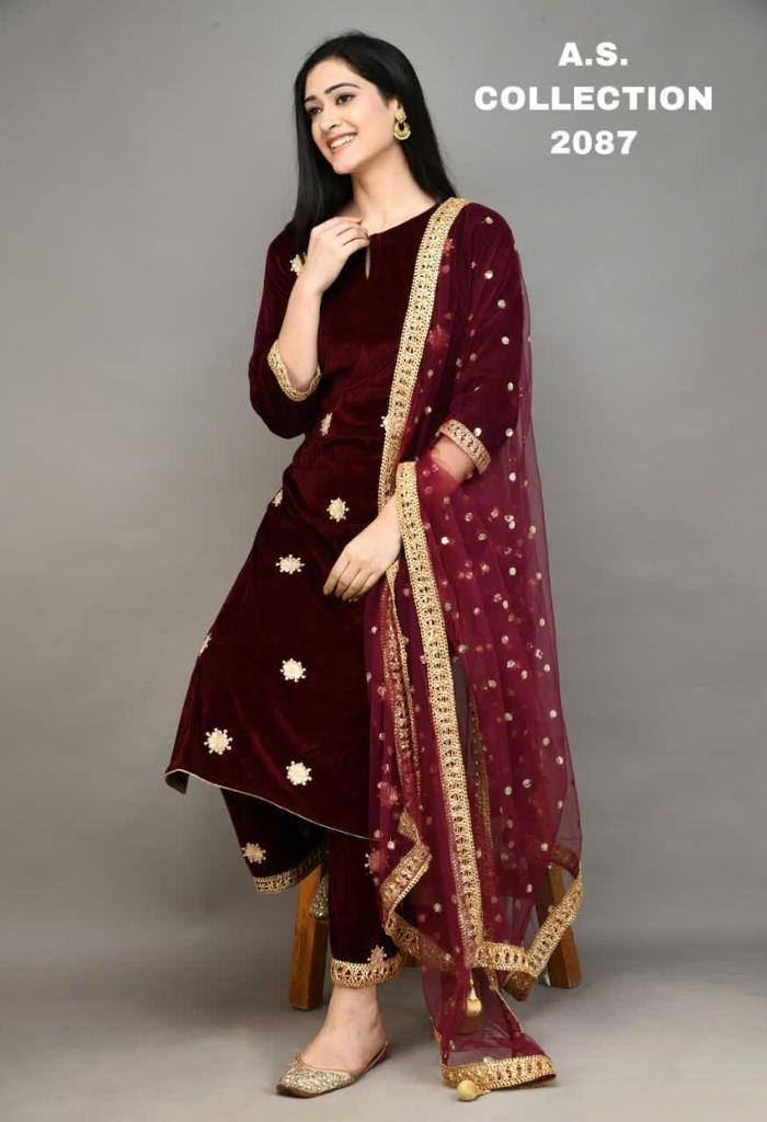 Latest Velvet With Embroidery Work Kurti With Palazzo With Dupatta Collection