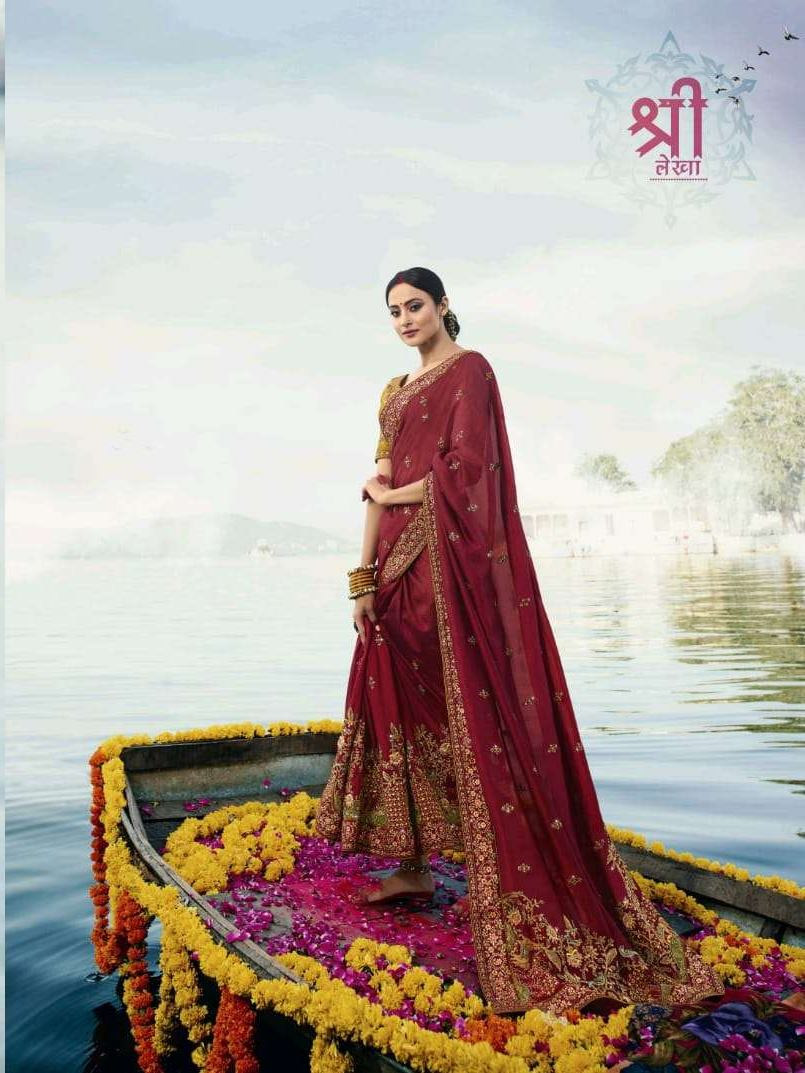 Vritika Lifestyle Palash Vol 11 Hit List Fancy With Embroidery Work Bridal Wear Sarees Collection At Wholesale Rate